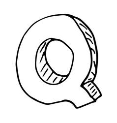 English alphabet - hand drawn letter Q vector