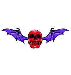 Fanged skull with bat wings black and white vector