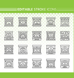 fireplace simple black line icons set vector image