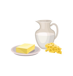 flat icon of butter on plate fresh milk in vector image