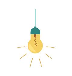 flat light bulb lighting lamp icon vector image