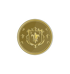 Fleur de lis Coat of Arms Gold Medal Retro vector image