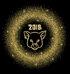 glitter frame 2019 and pig sign vector image
