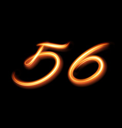 Glowing light number five and six hand lighting vector