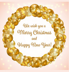 Gold christmas wreath vector