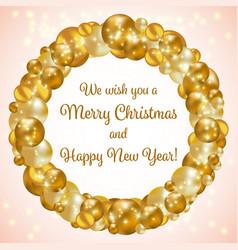 gold christmas wreath vector image