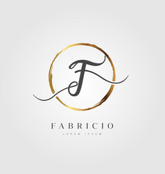 Gold elegant initial letter type f vector