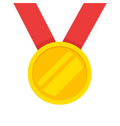 gold medal with red ribbon icon flat vector image