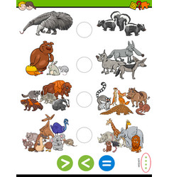 Greater less or equal task with wild animals vector
