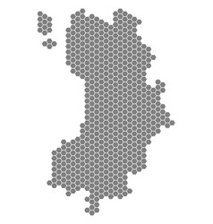 Grey hexagon koh tao thai island map vector