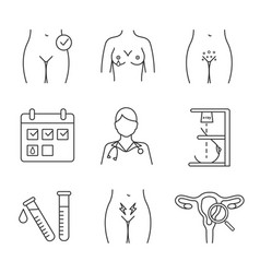 gynecology linear icons set vector image
