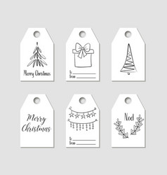 hand drawn christmas gift tags labels vector image