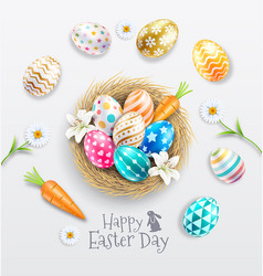 happy easter day egg nest with lilies and daisies vector image