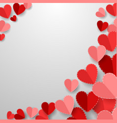 happy valentines day with red paper cut heart vector image