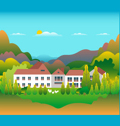 hills and mountains landscape with house farm in vector image