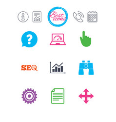 internet seo icons analysis chart sign vector image