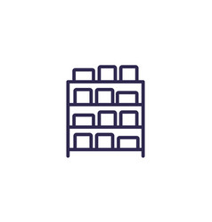 Inventory boxes on shelves line icon vector