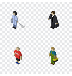 Isometric people set of guy housemaid investor vector