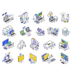 isometric web hosting icon set vector image