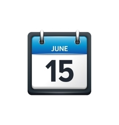 June 15 Calendar icon flat vector