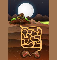 Landscape design with ants underground vector