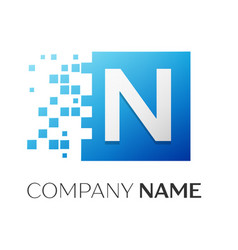 letter n logo symbol in the colorful square with vector image