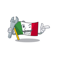 Mechanic flag italy is placed cartoon cupboard vector