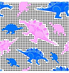 memphis pattern dinosaurs vector image
