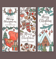 merry christmas and happy new year vertical banner vector image