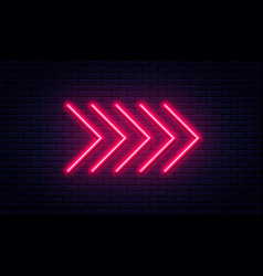 neon arrow sign glowing neon arrow pointer on vector image