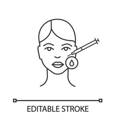 Neurotoxin injection area disinfection linear icon vector