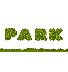park letters leaves vector image