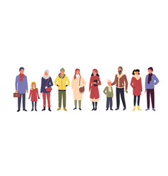 people wear casual winter clothes man woman kid vector image