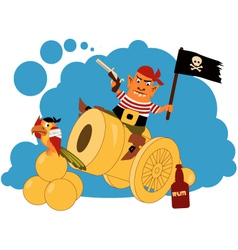 Pirate on a cannon vector