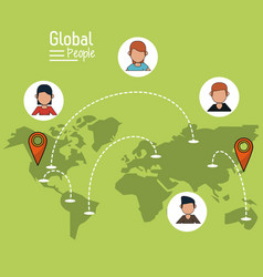 poster of global people with light green vector image