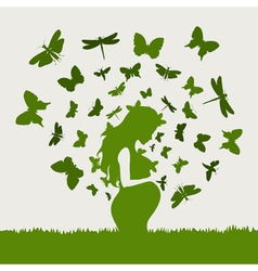 Pregnant girl butterflies vector