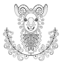 ram with floral frame wreazentangle vector image