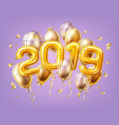 realistic 2019 pink air balloons confetti new year vector image