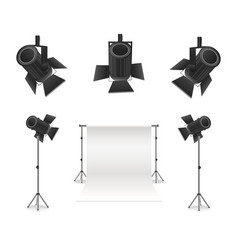 Realistic detailed 3d photo studio and equipments vector