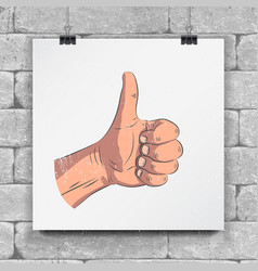 Realistic hands - gestures hand-drawn icon of a vector