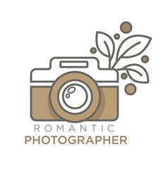 Romantic photographer retro photo camera isolated vector