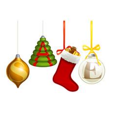 Sale christmas decorations vector