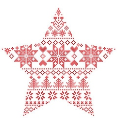 Scandinavian pattern in star shape vector