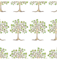 seamless pattern drawn deciduous trees vector image