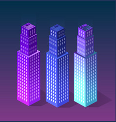 Set city of ultraviolet style vector