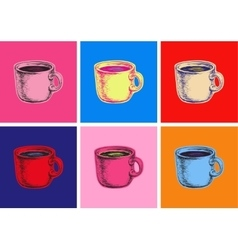 Set coffee mug pop art style vector