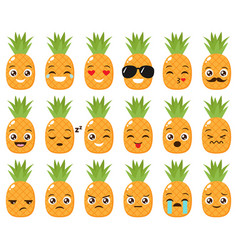 set cute pineapple emojis vector image