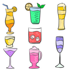 set drink various doodles collection vector image