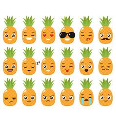 set of cute pineapple emojis vector image