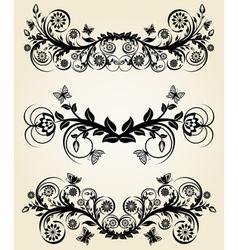 set of vintage black floral borders vector image